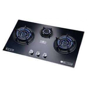HIBACHI 氣霸  嵌入式玻璃面板鋁合金邊框三頭煮食爐(煤氣或石油氣)